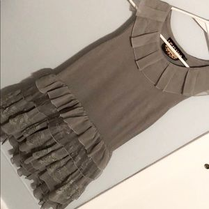 Grey Ruffled Dress sz M Pre-Owned